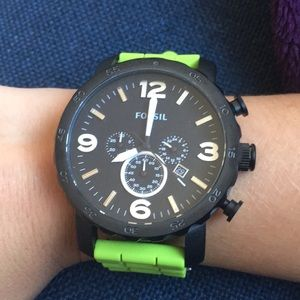 Green & black fossil watch
